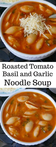 Roasted Tomato, Basil and Garlic Noodle Soup Chili Recipes, Vegetarian Recipes, Cooking Recipes, Healthy Recipes, Vegetarian Noodle Soup, Veg Soup, Garlic Noodles, Garlic Soup, Soup And Sandwich