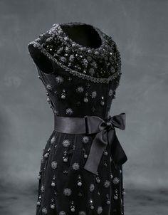 Cocktail dress in black silk smooth velvet 1962 - Worn by Mrs Charlton-Henry.