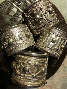 Collection of top shelf solid silver Ethiopian bracelets worn by  the Harrar,Wollo and the RashAida women.