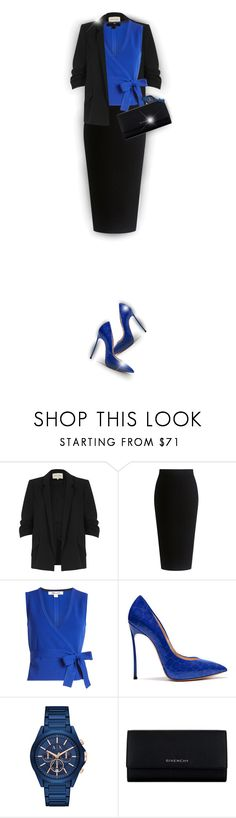 """Black & Blue in The Office! - Contest!"" by asia-12 ❤ liked on Polyvore featuring River Island, Theory, Diane Von Furstenberg, Armani Exchange, Givenchy and Honora"