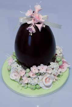 Easter egg with soft rose little flowers