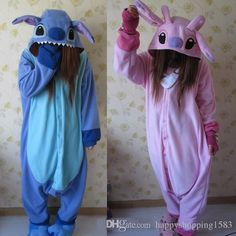 Pijamas de cosplay de animales trajes de mujeres trajes de pijamas de fiesta para adultos pijamas de una pieza azul de puntada rosa lilo y trajes de puntada