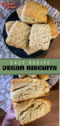 Comes out fluffy and tender every time! In just 30 minutes you have warm, golden, and flaky biscuits, ready to top with butter or peanut butter. The perfect vegan breakfast. Vegan Appetizers, Vegan Snacks, Vegan Dinners, Vegan Desserts, Vegetarian Meals, Vegan Baking Recipes, Delicious Vegan Recipes, Snack Recipes, Veggie Recipes