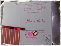 Convite de Casamento  Listras vermelhas com branco Pedido minimo: 50 unidades Acompanha tag com o nome de cada convidado, embalagem e adesivo bolinha R$ 2,80