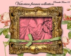 VICTORIAN Golden FRAME Pink Drape Photo Mat by pixelmarket on Etsy, €3.90