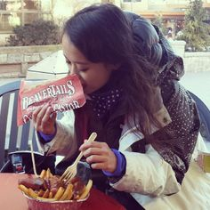 The Lumberjack's Snack - BeaverTails pastry and poutine. Instagram photo by @michellemtsang (Michelle Tsang)