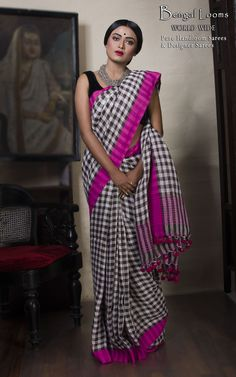 Linen Checks Saree Available For Sale from Bengal Looms
