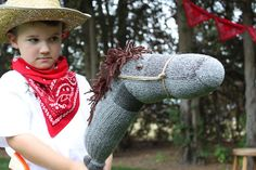 Owen's wild west party: they made sock-puppet horses for each kid. I love the boot graphic, too!