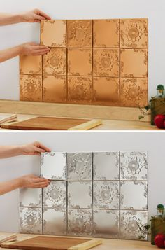 Sunflower Kitchen Backsplash Tin Tiles - Set of 14 (This store accepts paypal.)