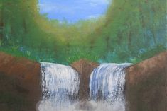 Waterfall Hand Painting Art, Acrylic Painting Canvas, Paint Types, Custom Paint, Christmas Sale, Waterfall, Scene, Hand Painted, Artwork
