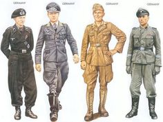 World War II Uniforms - Germany - 1940 May, France, Corporal, 1st Panzer Regiment Germany - 1940 Sep., Pas de Calais, Lieutenant, Jagdgeschwader 26 Germany - 1941 July, North Africa, Corporal, 15th Panzer Division Germany - 1943 June, Kharkov, Corporal, Das Reich Panzer Division