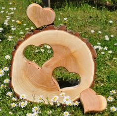 Tree Disc 2 Hearts Wedding Love Gift Wood - **Tree pane** the approx. 4 cm thick with sawed the heart** separately taken out. Intarsia Woodworking, Woodworking Crafts, Diy Wall Art, Home Decor Wall Art, Wood Tree, Pallet Creations, Diy Pallet Projects, Wood Slices, Love Gifts