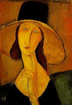 디자인덕 :: 아메데오 모딜리아니 (Amedeo Modigliani) - 큰 모자를 쓴 잔 에뷔테른