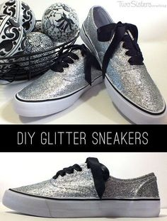 DIY Glitter Sneakers - Find out how to make your own DIY Glitter Sneakers with glitter, Mod Podge and a pair of inexpensive white tennis shoes. And for more great DIY Fashion ideas follow us at http://www.pinterest.com/2SistersCraft/