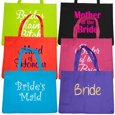 Bridal Party Budget Tote Bag - Pack of 6 Hens Party Supplies, Bag Pack, Paper Shopping Bag, Maid, Budgeting, Reusable Tote Bags, Packing, Bridal, Backpack