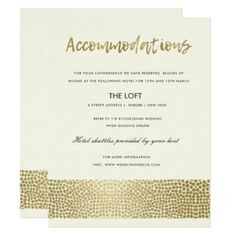 GLAMOROUS GOLD WHITE DOTS MOSAIC ACCOMMODATION CARD - wedding invitations cards custom invitation card design marriage party