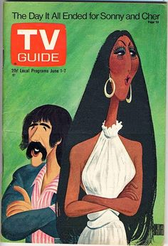 Illustration by Al Hirschfeld    The Day It All Ended for Sonny and Cher, TV Guide, June 1, 1974. Caricature by Hirschfeld.