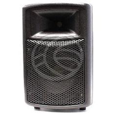 Altavoz profesional con amplificador y con una potencia de 120W PMPO. Incluye un altavoz con tres conectores de audio de tipo jack 6.3mm. Montado en sólida estructura de plástico ABS rugoso de color negro, de perfil con líneas curvadas y suaves. Dispone de 4 patas para disponer el altavoz en una superficie plana y en posición vertical