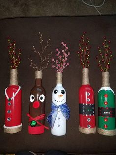 These hand painted wine bottles come with the berries included. They are holiday themed, I offer them as sets or individuals. I can also do custom ones, such as Noel or Snow for example. There are both Christmas and thanksgiving themed bottles, all made to order and customized