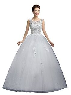 Eyekepper Double Shoulder Lace Beaded Bridal Wedding Dresses Ball Gown Custom Size Click Image To