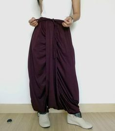 Maroon Harem Pants, Unisex  Drop Crotch Trousers In Cotton Jersey. #tribalfashion #CasualPants