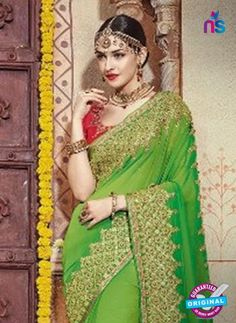 a1d7b6125 AZ 5008 Green Georgette Wedding Saree Wedding Sarees Online