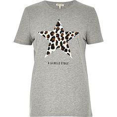Grey leopard star print T-shirt £20.00