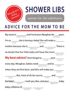 Printable Mad Libs Baby Shower Game by Studio9580 on Etsy