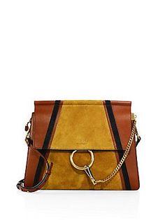 Chloé Faye Medium Leather & Suede Shoulder Bag - Classic Tan