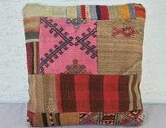 16x16 Handmade Colorful PATCHWORK Kilim Pillow by pillowsstore, $24.99