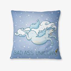 #rainydays #badass #unicorn #pillow - available on The Mutiny, design by #MaraLiem http://wearethemutiny.com