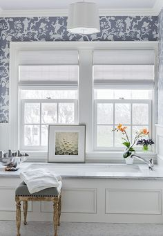Wallpaper for Bathrooms - Transitional - bathroom - Katie Rosenfeld Design Bathroom Wallpaper, Asian Wallpaper, Transitional Bathroom, Visual Comfort, Bath Remodel, Beautiful Bathrooms, Bathroom Inspiration, Kitchen And Bath, Decoration
