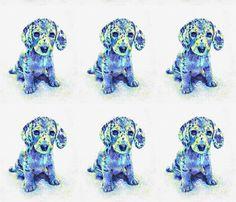 blue merle dachshund puppy fabric by jashumbert on Spoonflower - custom fabric