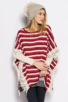 Holiday in your Heart! pancho with lace trim – The Pink Ivy Boutique