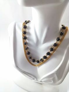 Double Strand Black Beaded and Mesh Necklace- Vintage from the 1950s