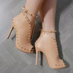 2018 New Design Women Fashion Open Toe Rivets Studded Ankle Boots Leather Cut-out Ankle Buckle Strap High Heel Boots Dress Shoes Womens Leather Ankle Boots, Studded Ankle Boots, High Heel Boots, Heeled Boots, Bootie Boots, Shoe Boots, Bootie Heels, High Heels Stilettos, Stiletto Heels