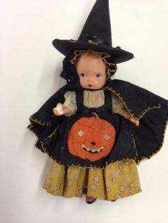 Precious Vintage Composition Doll, Handmade Dress for Halloween as a Witch Scary (09/14/2014)