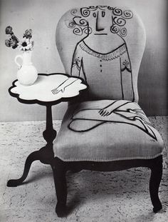 Saul Steinberg illustration on a chair. He's so clever no matter how many dimensions he's using! Funky Furniture, Unique Furniture, Painted Furniture, Furniture Design, Graffiti Furniture, Upholstered Furniture, Saul Steinberg, Painted Chairs, Take A Seat