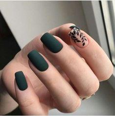 #nailart #naildesigns #nailartdesings #nailshapes Dark Green Nails, Green Nail Art, Orange Nail Art, Nail Designs Floral, Nail Designs Spring, Gel Nail Art Designs, Paolo Sebastian, Matte Nail Art, Acrylic Nail Art