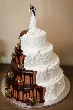 Combined Chocolate and Vanilla Bride and Groom's Cake