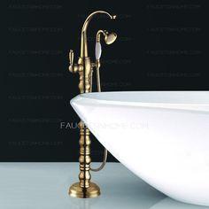 Luxury Gold Roman Style Freestanding Bathtub Shower Faucet