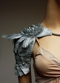 Silver metallic, feathers beads lace epaulette