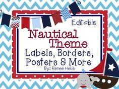 These adorable labels are perfect for any nautical theme classroom! This set was created with bold patterns and nautical elements such as anchors, whales, and buntings.  There are endless possibilities for the uses of these labels. You can create newsletters, labels, name tags, name plates, signs, charts, games, centers, invitations, lists, and much more!