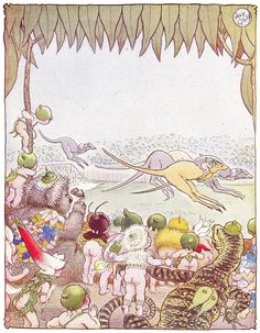 ✯ At the Races :: May Gibbs ✯ Brownie Fairy, Broken Book, Aussie Christmas, Cicely Mary Barker, Australia Day, Baby Art, Antique Prints, Nursery Prints, Faeries
