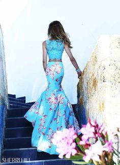Lace Fitted Bodice Sherri Hill Dress 32073