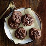 Double-Chocolate Cookies Recipe | pretty easy, few ingredients and turned out incredibly yummy! Chewy and brownie like almost! I added in some white chocolate chips as well