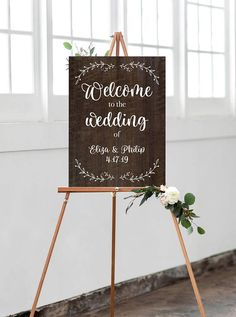 Wedding Welcome Sign Personalized Names Design on Wooden Style