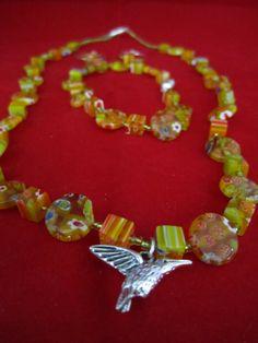 Humming bird Jewelry set by craftsforlove on Etsy