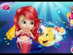 Baby Ariel Take Care Of Flounder - The Little Mermaid Ariel Games