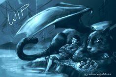 Merlin fan art by WHIMSYCATCHING // Merlin and Freya WIP.